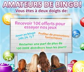 Recevoir 10 € OnlineBingo